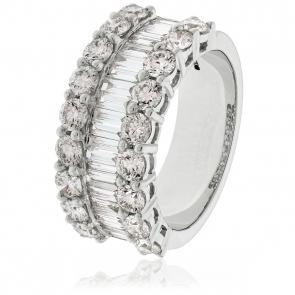 Diamond Baguette Half Eternity Ring 2.70ct, 18k White Gold
