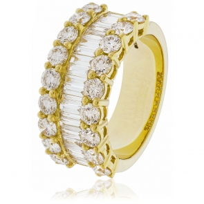 Diamond Baguette Half Eternity Ring 2.70ct, 18k Gold