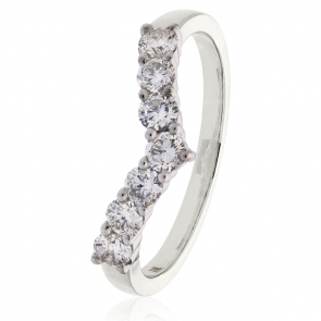 Diamond Wishbone Ring 0.50ct, 18k White Gold