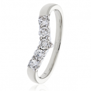 Diamond Wishbone Ring 0.45ct, 18k White Gold