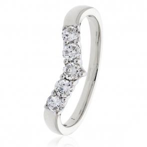 Diamond Wishbone Ring 0.45ct, 18k White Gold