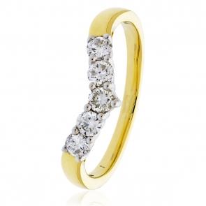 Diamond Wishbone Ring 0.45ct, 18k Gold