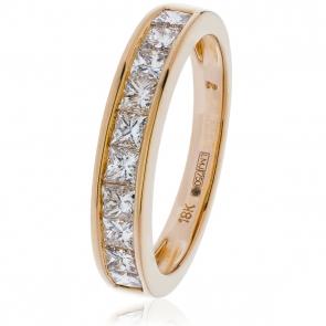 Diamond Princess Half Eternity Ring 1.00ct, 18k Rose Gold