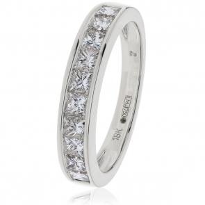 Diamond Princess Half Eternity Ring 1.00ct, 18k White Gold