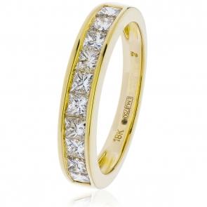 Diamond Princess Half Eternity Ring 1.00ct, 18k Gold
