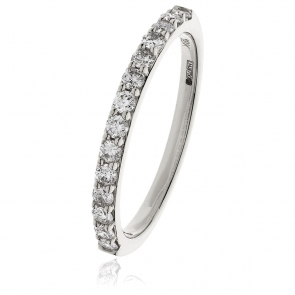 Diamond Half Eternity Ring 0.55ct, 18k White Gold