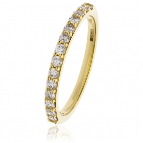 Diamond Half Eternity Ring 0.55ct, 18k Gold