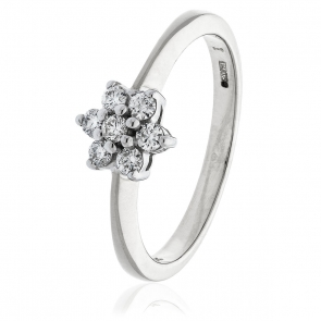 Diamond Seven Stone Cluster Ring 0.25ct, 9k White Gold