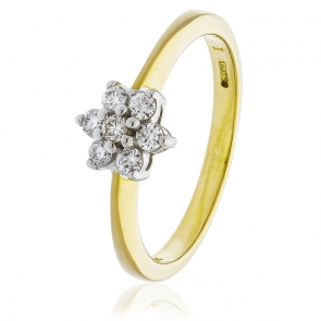 Diamond Seven Stone Cluster Ring 0.25ct, 9k Gold