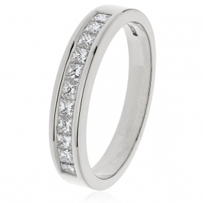 Diamond Princess Half Eternity Ring 0.50ct, 18k White Gold
