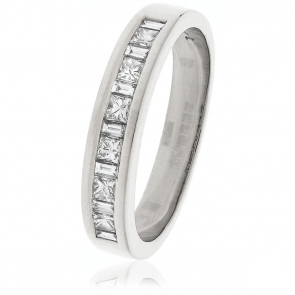 Diamond Baguette & Princess Ring 0.50ct, 18k White Gold