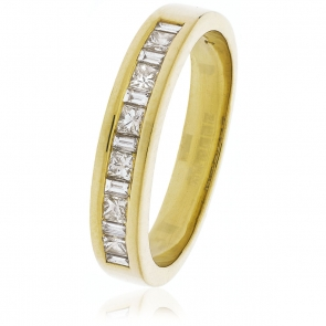 Diamond Baguette & Princess Ring 0.50ct, 18k Gold