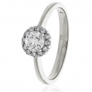 Diamond Engagement Ring 0.55ct, 18k White Gold