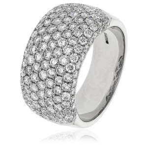 Diamond Pave Set Half Eternity Ring 2.45ct, 18k White Gold
