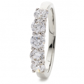 Diamond 5 Stone Ring 1.50ct, 18k White Gold
