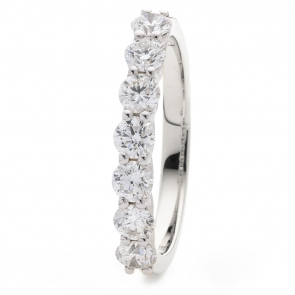 Diamond Half Eternity 7 Stone Ring 1.00ct, 18k White Gold