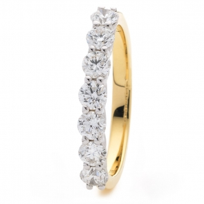 Diamond Half Eternity 7 Stone Ring 1.00ct, 18k Gold