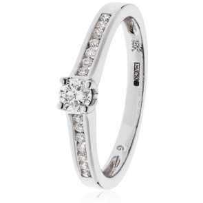 Diamond Engagement Ring Channel Set 0.45ct, 18k White Gold