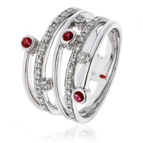 Diamond & Ruby Dress Ring 0.40ct, 18k White Gold