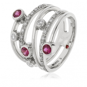 Diamond & Ruby Dress Ring 0.70ct, 18k White Gold