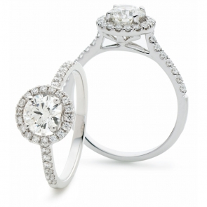 Diamond Halo Engagement Ring 1.25ct, 18k White Gold