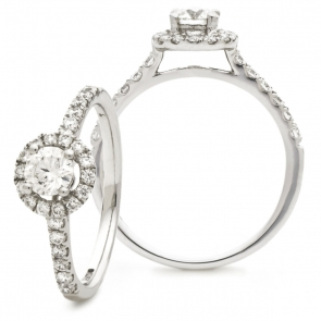 Diamond Halo Engagement Ring 1.20ct, 18k White Gold