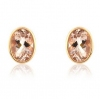 Morganite Oval Stud Earrings, 9k Rose Gold
