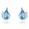 Diamond and Blue Topaz Pear Cut Earrings, 9k White Gold