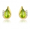 Diamond and Peridot Pear Cut Earrings, 9k Gold