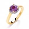 Diamond & Amethyst Halo Ring 0.85ct, 9k Gold