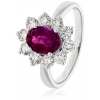 Diamond & Oval Cut Ruby Ring 2.50ct, 18k White Gold
