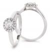 Diamond Halo Engagement Ring, 18k White Gold