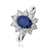 Diamond & Oval Cut Sapphire Ring 2.50ct, 18k White Gold