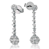 Diamond Cluster Drop Earrings 1.05ct, 18k White Gold