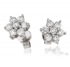 Diamond Cluster Flower Studs 1.00ct, 18k White Gold