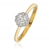 Diamond Cluster Ring With Millgrain 0.30ct, 18k Gold