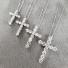 Diamond Cross Necklace 18k White Gold, H/SI, Variable Sizes