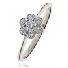 Diamond Flower Cluster Ring 0.30ct, 18k White Gold