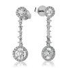 Diamond Halo Drop Earrings 1.35ct, 18k White Gold