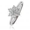 Diamond Seven Stone Cluster Ring 0.75ct, 18k White Gold