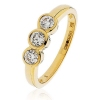 Diamond Trilogy Ring Bezel/Rub-Over Set 0.55ct, 18k Gold
