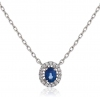 Diamond and Blue Sapphire Pendant Necklace, 18k White Gold