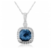Diamond & Blue Topaz Pendant Necklace 2.20ct. 9k White Gold