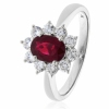 Diamond & Oval Cut Ruby Ring 1.60ct, 18k White Gold