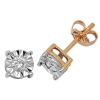 Diamond Illusion Set Stud Earrings 0.25ct, 9k Gold