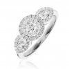 Diamond Double Halo Engagement Ring 0.80ct, 18k White Gold