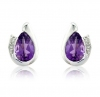 Diamond and Amethyst Pear Cut Earrings, 9k White Gold