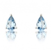 Aquamarine Pear Stud Earrings, 9k White Gold