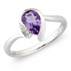 Amethyst & Diamond Ring, 9k White Gold