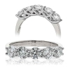 Five Stone Diamond Ring 0.75ct, 18k White Gold